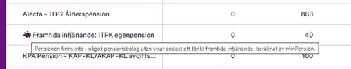 Skärmbild från minPension som visar exempel på information om Framtida intjänande i simulatorn.